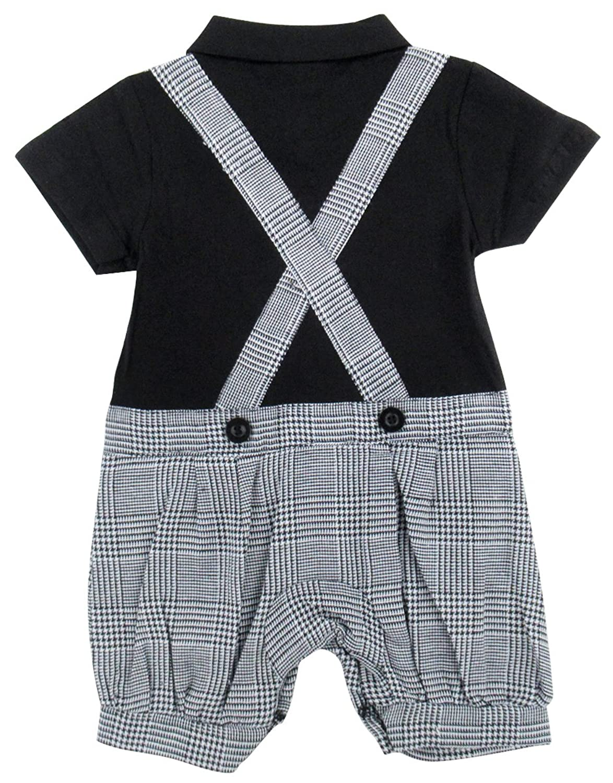 Amazon.com: AJDesign Baby Boys Faux Bowtie Tuxedo Gentleman Romper ...