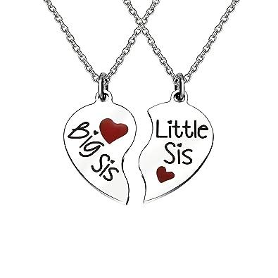 bfee99c800 Amazon.com: KENYG 2 PCS BIB SIS Little SIS Heart Shape Pendant Necklace for  Sister or Best Friends: Jewelry