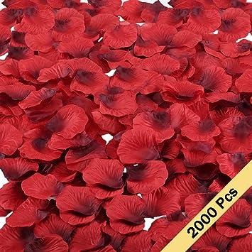MIHOUNION 2000 Stück Rosenblätter Seide Blumen Blätter Rot Rosenblüten Für  Valentinstag Jahrestag Hochzeit Veranstaltung Überraschung Streublumen