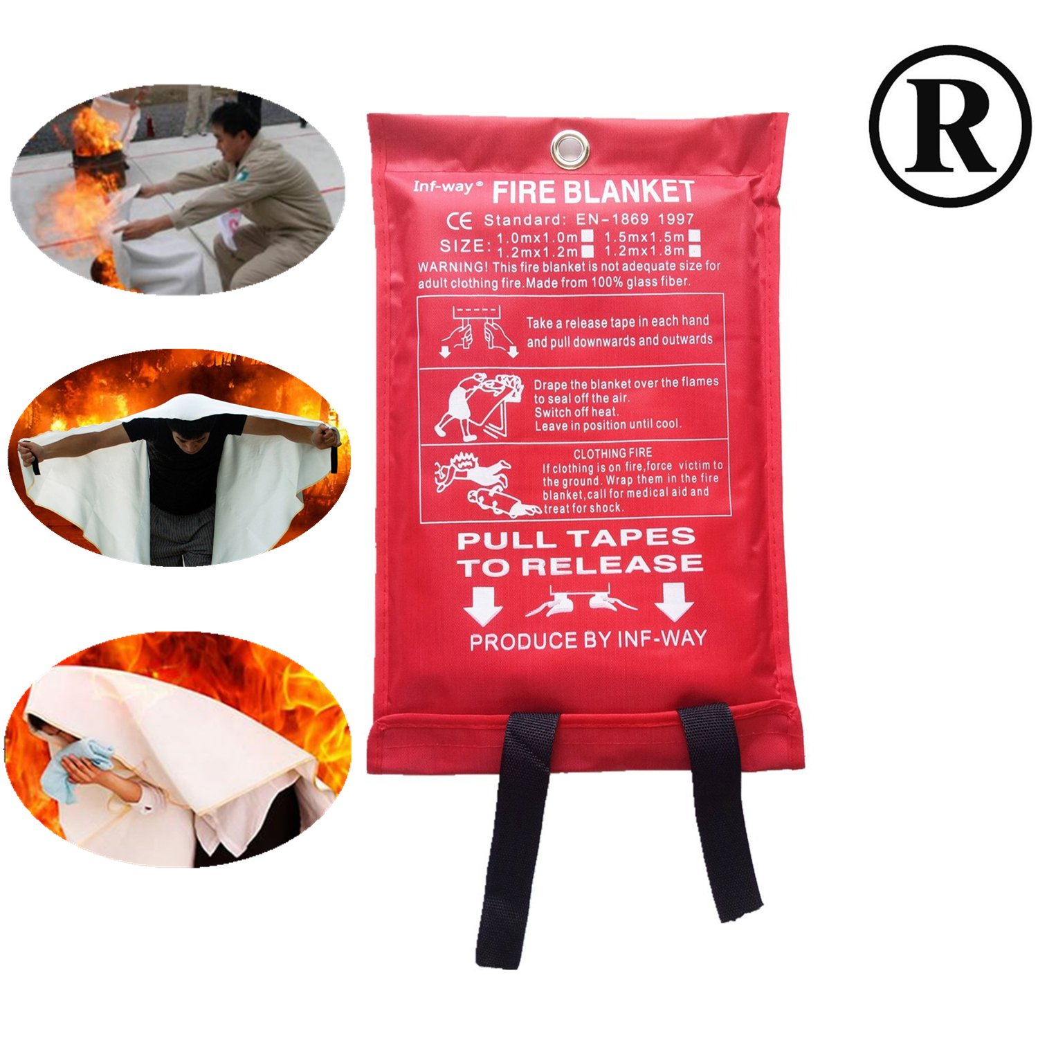Inf-way Fire Blanket, Fiberglass Fire Flame Retardent Emergency Surival Fire Shelter Safety Cover
