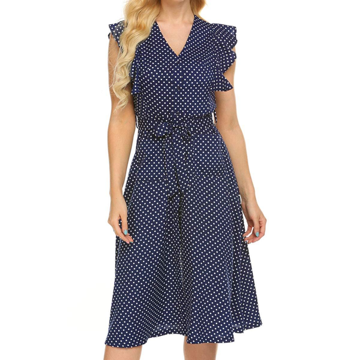 Sailor Dresses, Nautical Theme Dress, WW2 Dresses OMSJ Womens Cute Dresses Polka Dot Swing Midi Dress with Pockets $21.99 AT vintagedancer.com