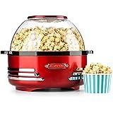 oneConcept Couchpotato Macchina Per Popcorn Pop Corn Maker Elettrico (1000 Watt, Rivestimento Antiaderente, Coperchio Utilizzabile Come Piatto, Design Vintage) rosso