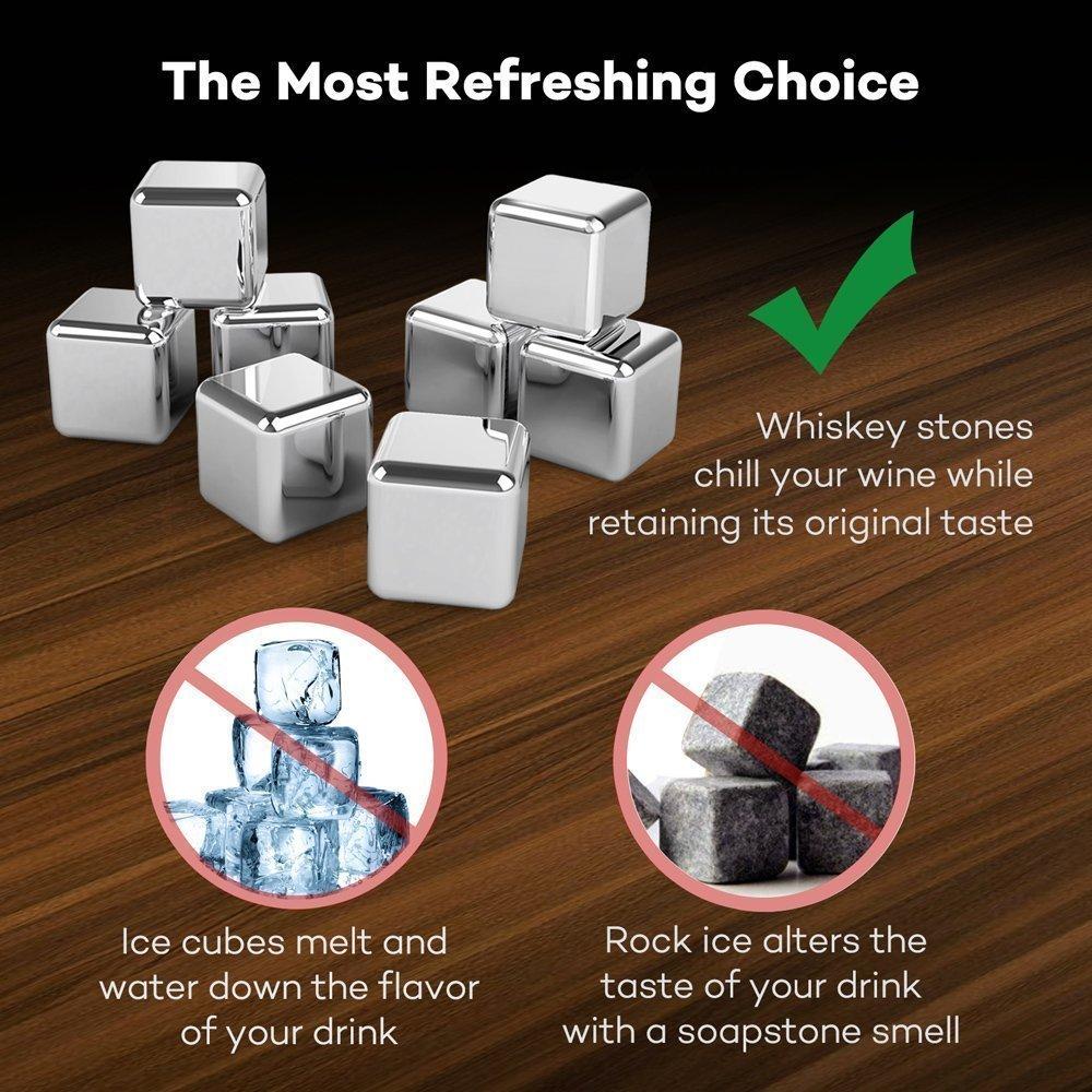 conjunto de 8 Cubitos Met/álicos Acero Inoxidable Reutilizable con pinza para Enfriar Wiski Sidra Vino VieVogue Whisky Rocks Whiski Piedras Cubos Enfriadores