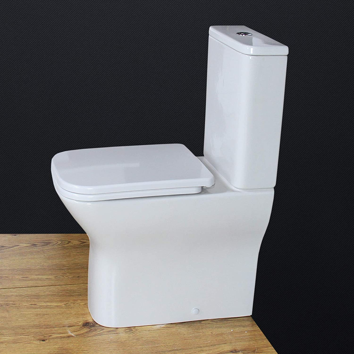 KLARA Toilet WC Close Coupled square bowl Cloakroom Extra Height Heavy Duty Seat