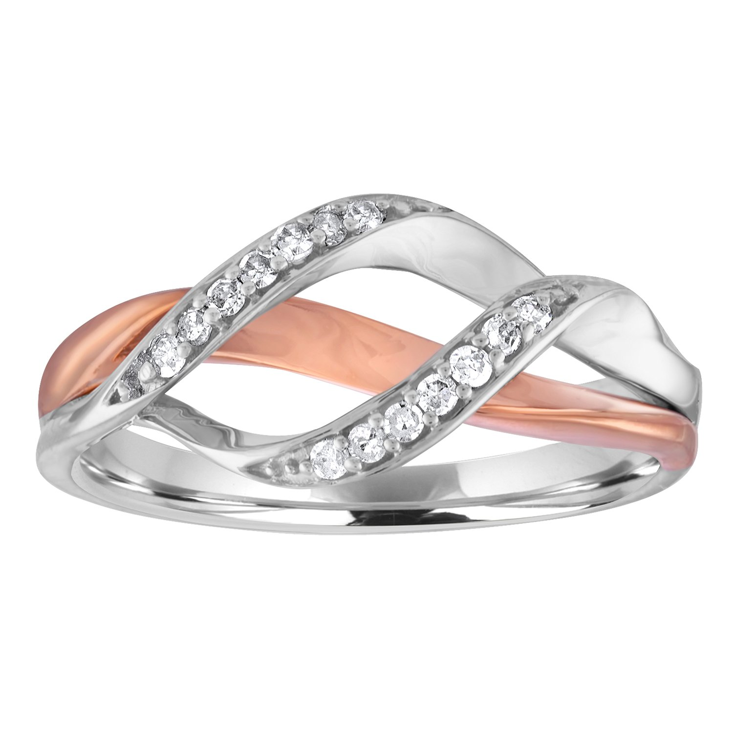 Diamond Band in 10K Rose Gold/Sterling Silver