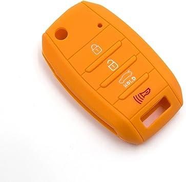 LIGHTKOREA 4Button Silicone Fob Folding Key Case Cover for Kia Optima Cerato Forte Rondo Carens Soul Sportage Rio Picanto Red