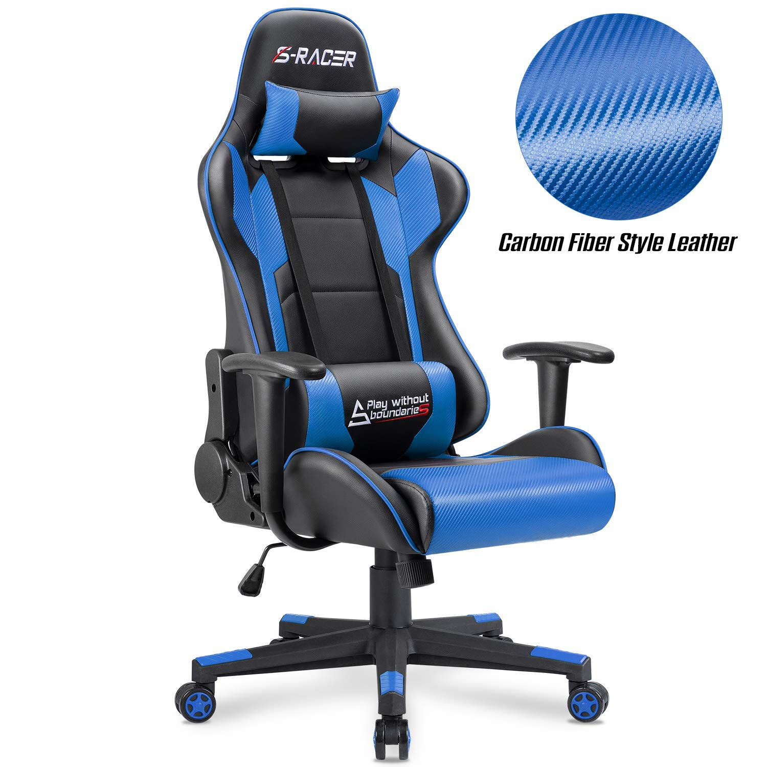 Furniwell Gaming Chair Racing Computer Chair PC Office Desk Chair Adjustable Swivel High Back Carbon Fiber Style PU Leather Executive Ergonomic Chair with Headrest and Lumbar Support Blue