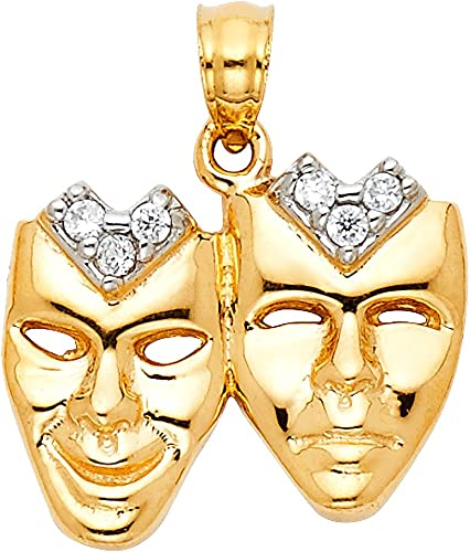 Ioka 14K Yellow Gold Performing Arts Mask Charm Pendant For Necklace or Chain