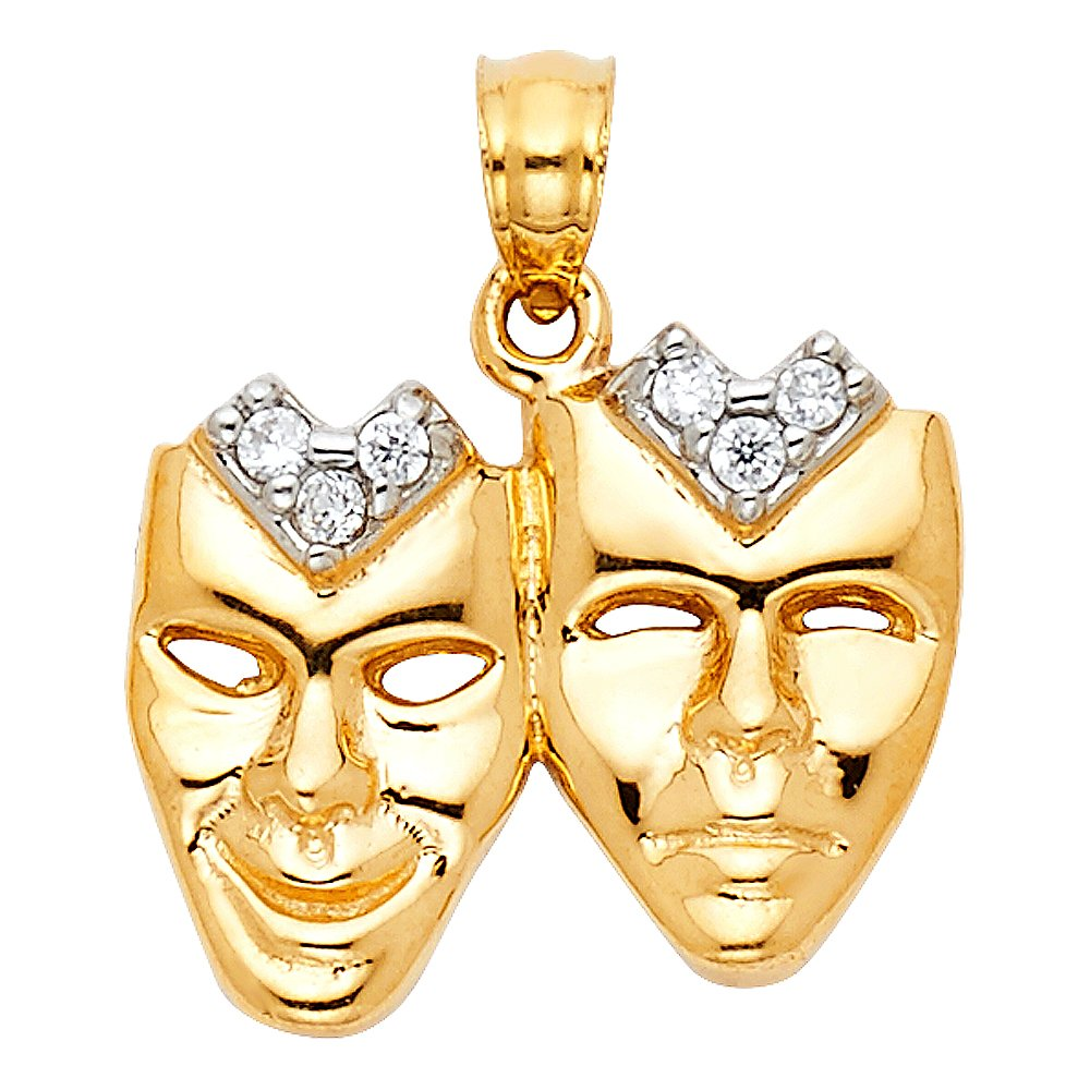 Million Charms 14k Yellow Gold with White CZ Accented Mask Charm Pendant 18mm x 17mm