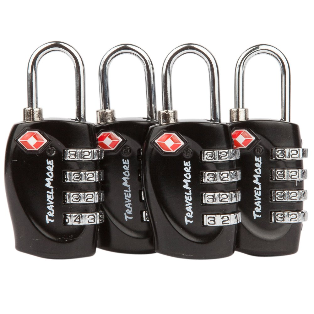 4 Pack TSA Approved Luggage Locks for Travel Safety, Small 4 Digit Combination Padlocks for Suitcases, Lockers & Bags by TravelMore