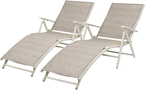 Devoko Patio Outdoor Chaise Lounge Chairs Beach Pool Side Folding Recliner Adjustable Lounge Chair Set of 2 Beige