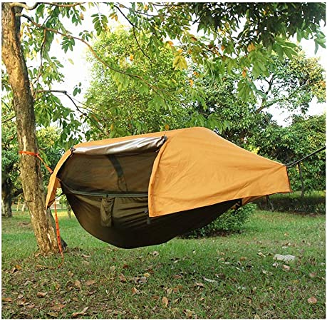 JXS-outdoor Hamaca para Acampar con mosquitera y cobertor para Lluvia Hamaca de Tela para paracaídas, sombrilla para jardín Hamaca para Acampar al Aire Libre,Orange: Amazon.es: Hogar