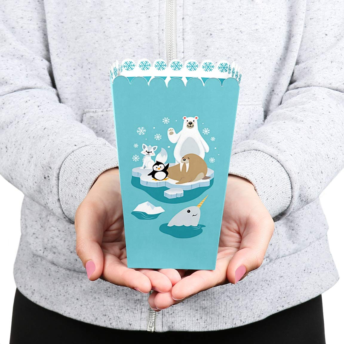 Arctic Polar Animals Set of 12 Winter Baby Shower or Birthday Party Favor Popcorn Treat Boxes