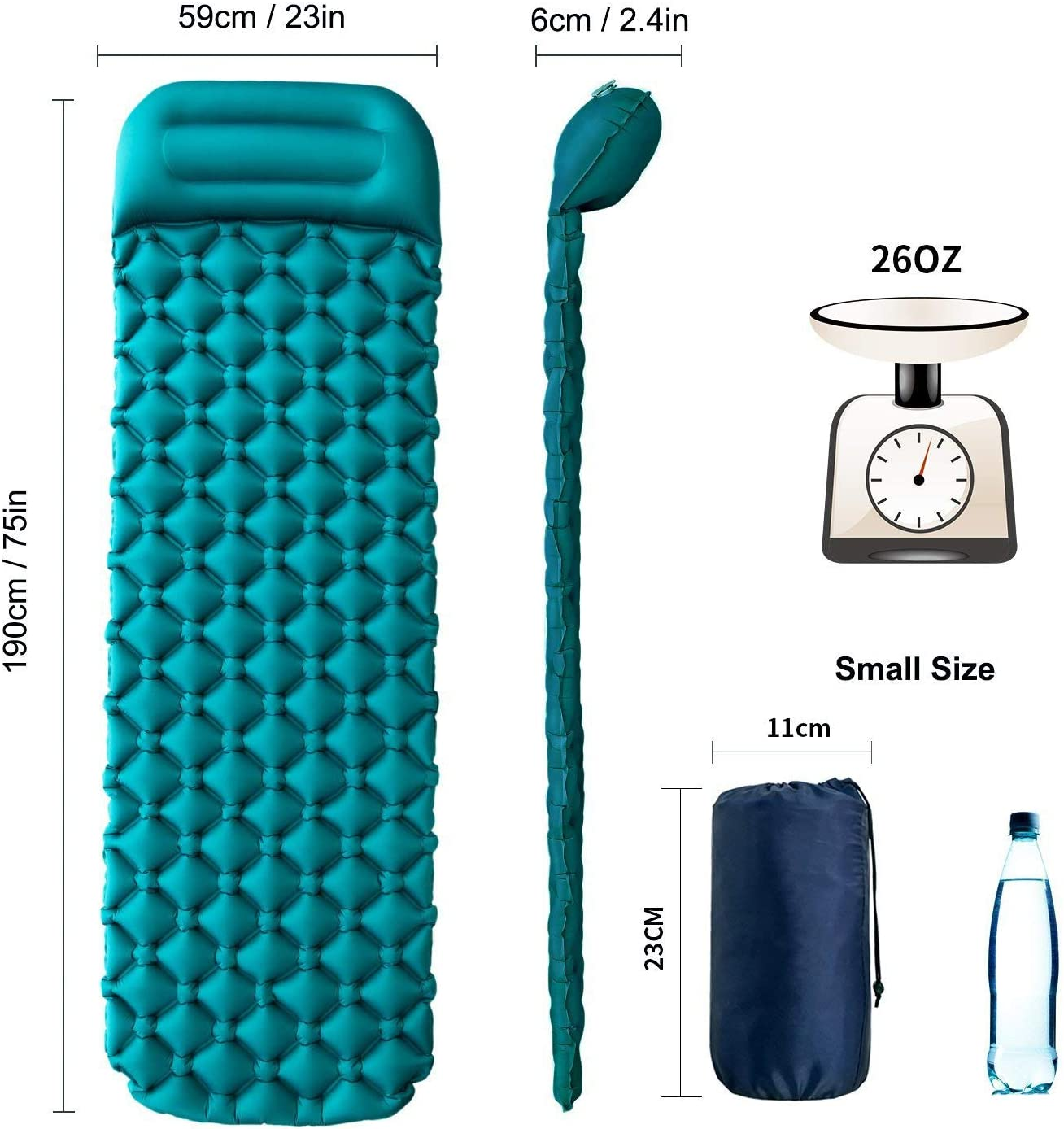 Travling Inflatable sleeping mat with pillow,Ultralight Camping Waterproof Mattress Folding Inflating Single Bed Portable Air Pad for Caming Backpacking(Green)
