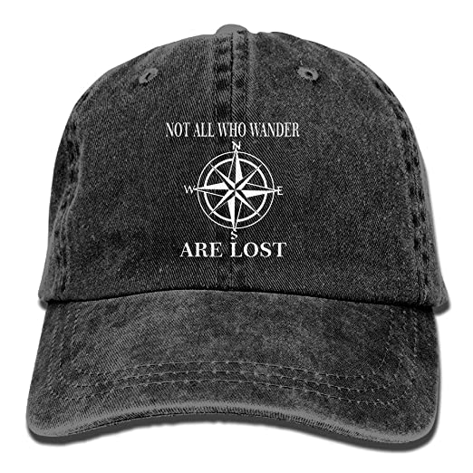 6949ecd5a2c Amazon.com  Not All Who Wander Are Lost Unisex Adjustable Cotton Denim Hat  Washed Retro Gym Hat FS DMhcap Cap Hat  Clothing