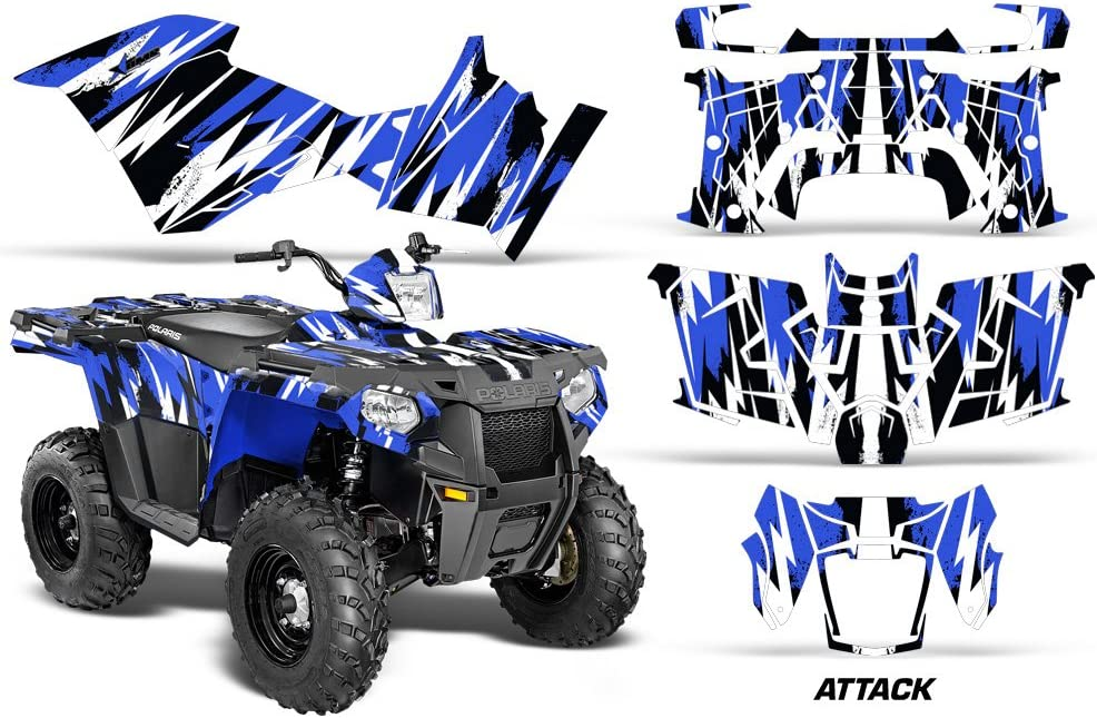AMR Racing ATV Graphics kit Sticker Decal Compatible with Yamaha Polaris Sportsman 450//570 2014-2017 Attack Blue