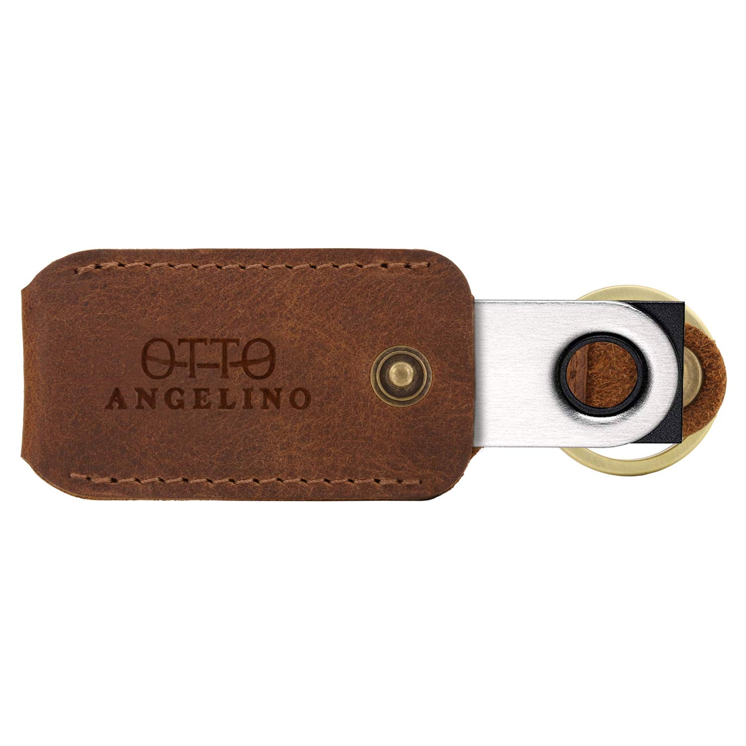 Otto Angelino Genuine Leather Case with Keyring for Ledger Nano S Bitcoin Wallet Unisex (Brown)