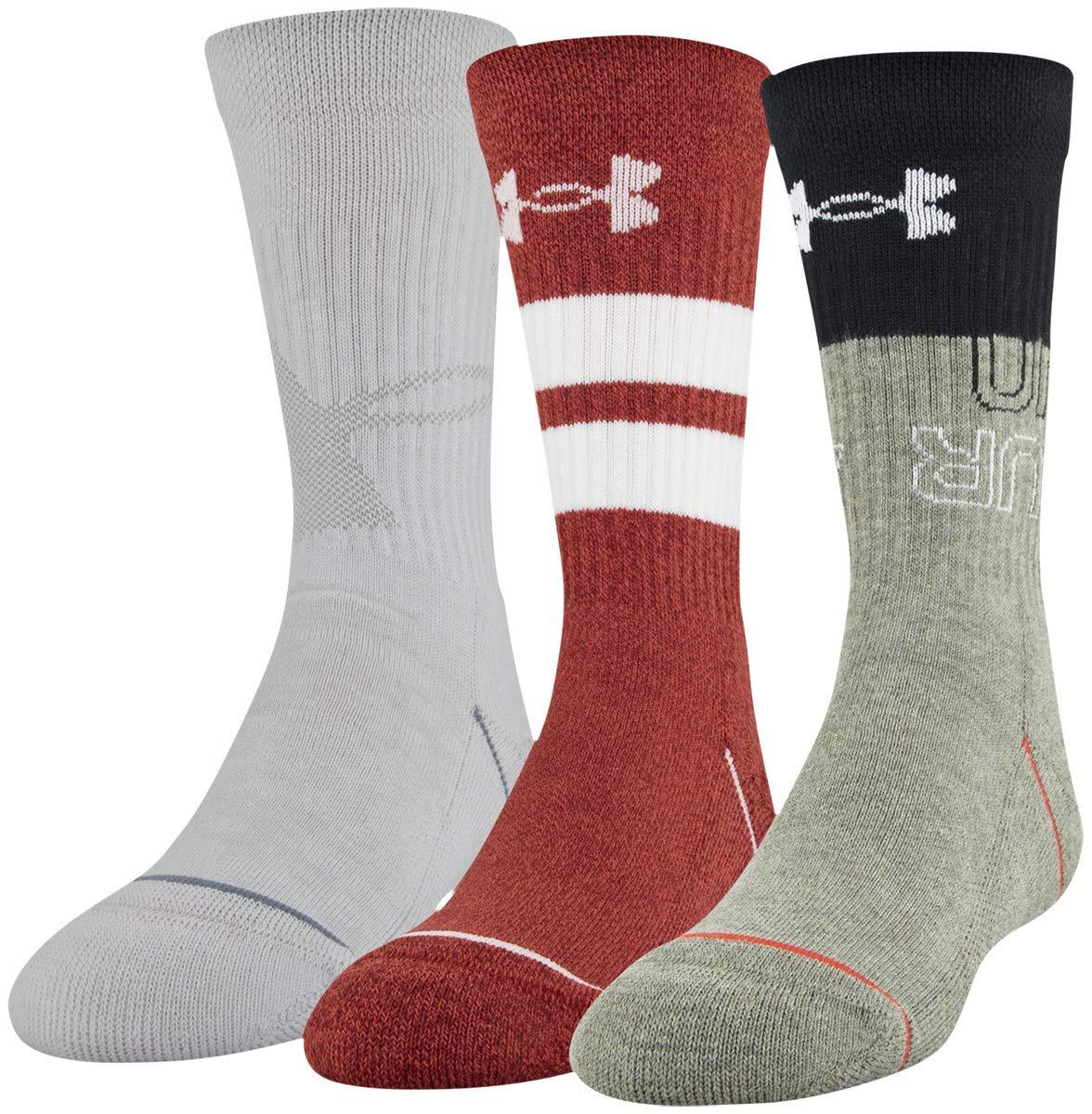 4Y New Under Armour Boys Phenom 5.0 3-Pack Crew Socks Size 13.5.K