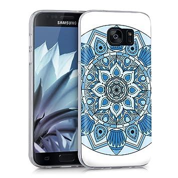 kwmobile Funda para Samsung Galaxy S7 - Carcasa de TPU para móvil y diseño caleidoscópico en Azul/Azul Claro/Blanco