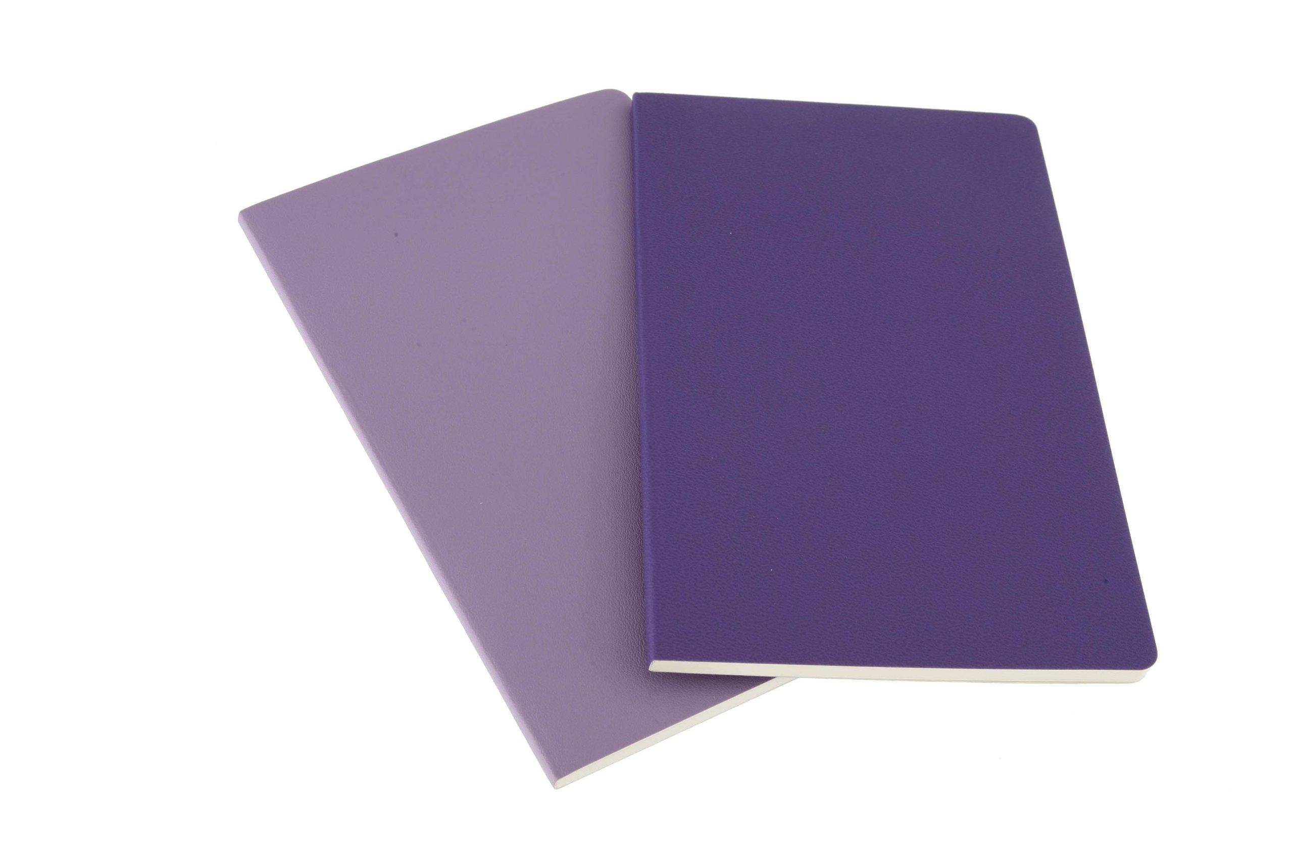 Moleskine Volant Notebook (Set of 2), Large, Ruled, Light Violet, Brilliant Violet, Soft Cover (5 x 8.25)