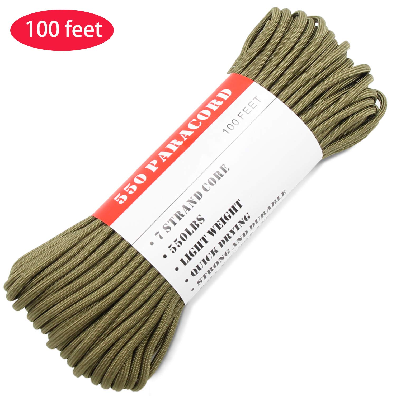 BENGKU Outdoor Survival Mil-SPEC 550lb Paracord/Parachute Cord(MIl-C-5040-H),100Feet,100% Nylon. (Olive Green, 100.00)