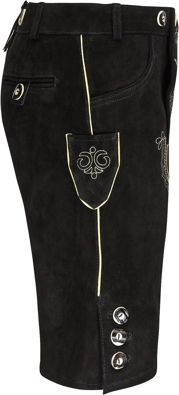Schwarz,Gr.46-60 Trachtenlederhose-Trachtenlederhose Dunklebraun Trachten Herren Lederhose Kurz mit Tr/äger antikbraun
