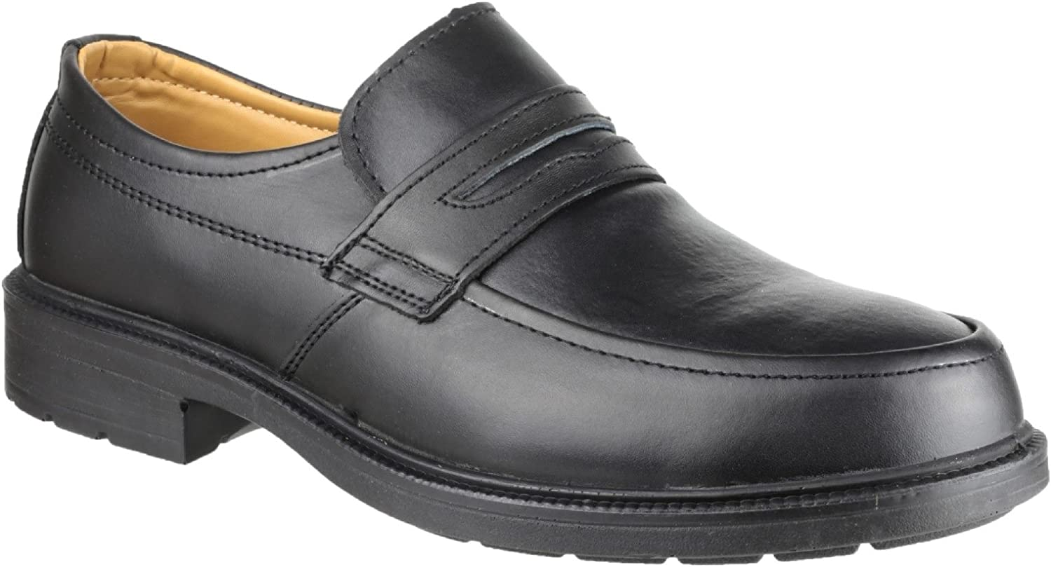 Mens Safety Shoes Black Leather Steel