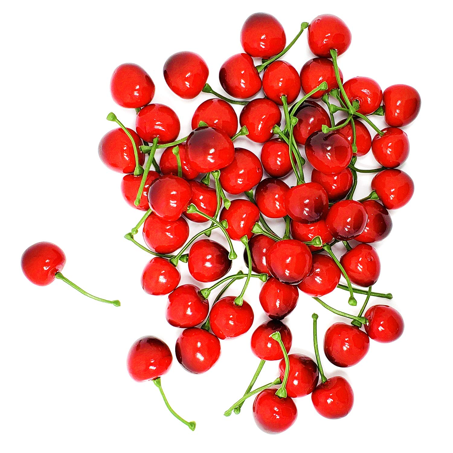 WsCrafts 50Pcs Artificial Lifelike Simulation Cherries for Home Decoration 25mm, red Black Simulation Fruit Kitchen Decoration Christmas Display