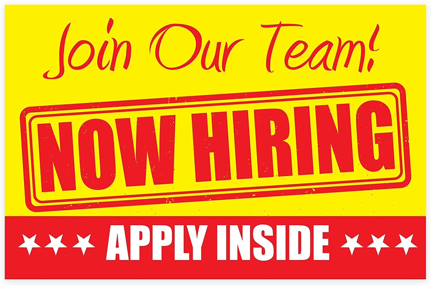 "Amazon.com : Now Hiring Apply Inside Sign – PVC Size 11"" x 17"" Unique  Design - for Business, Store Window 