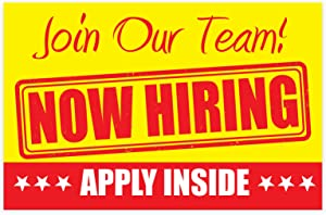 "Now Hiring Apply Inside Sign – PVC Size 11"" x 17"" Unique Design - for Business, Store Window 