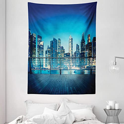 Ambesonne Cityscape Tapestry, Big City Night Panorama from a Balcony with Skyscrapers, Wall Hanging for Bedroom Living Room Dorm, 60 X 80 , Pale Yellow Night Blue Sea Blue