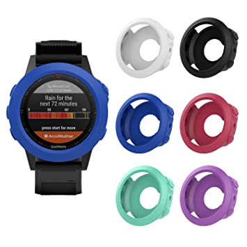MoKo Watch Case for Garmin Fenix 5/5 Plus, [6 PACK] Soft Silicone Full Body  Protective Cover Shock-proof Case Protector Accessories for Garmin Fenix