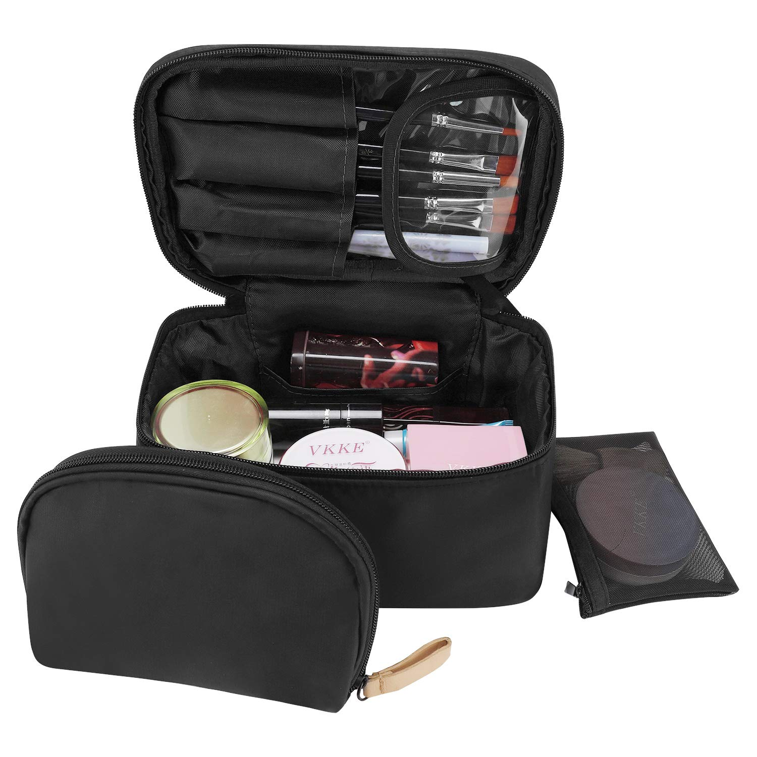 Amazon.com : Travel Makeup Bag, wllife Makeup Bag Organizer Cosmetic Makeup Bags for Women Make Up Cosmetic Bag Case with Brush Holder-Bonus Cosmetic Pouch ...