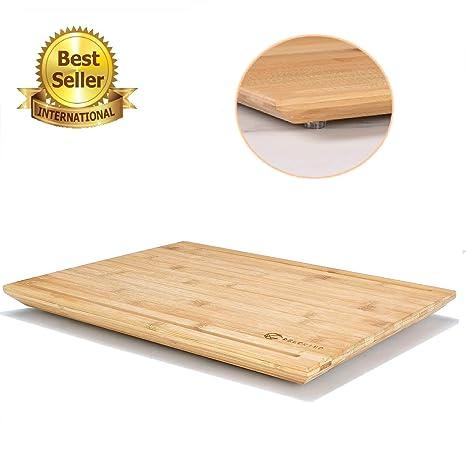 DELCRIMO® Tagliere in legno grande di bambù con scanalatura succo 40 ...