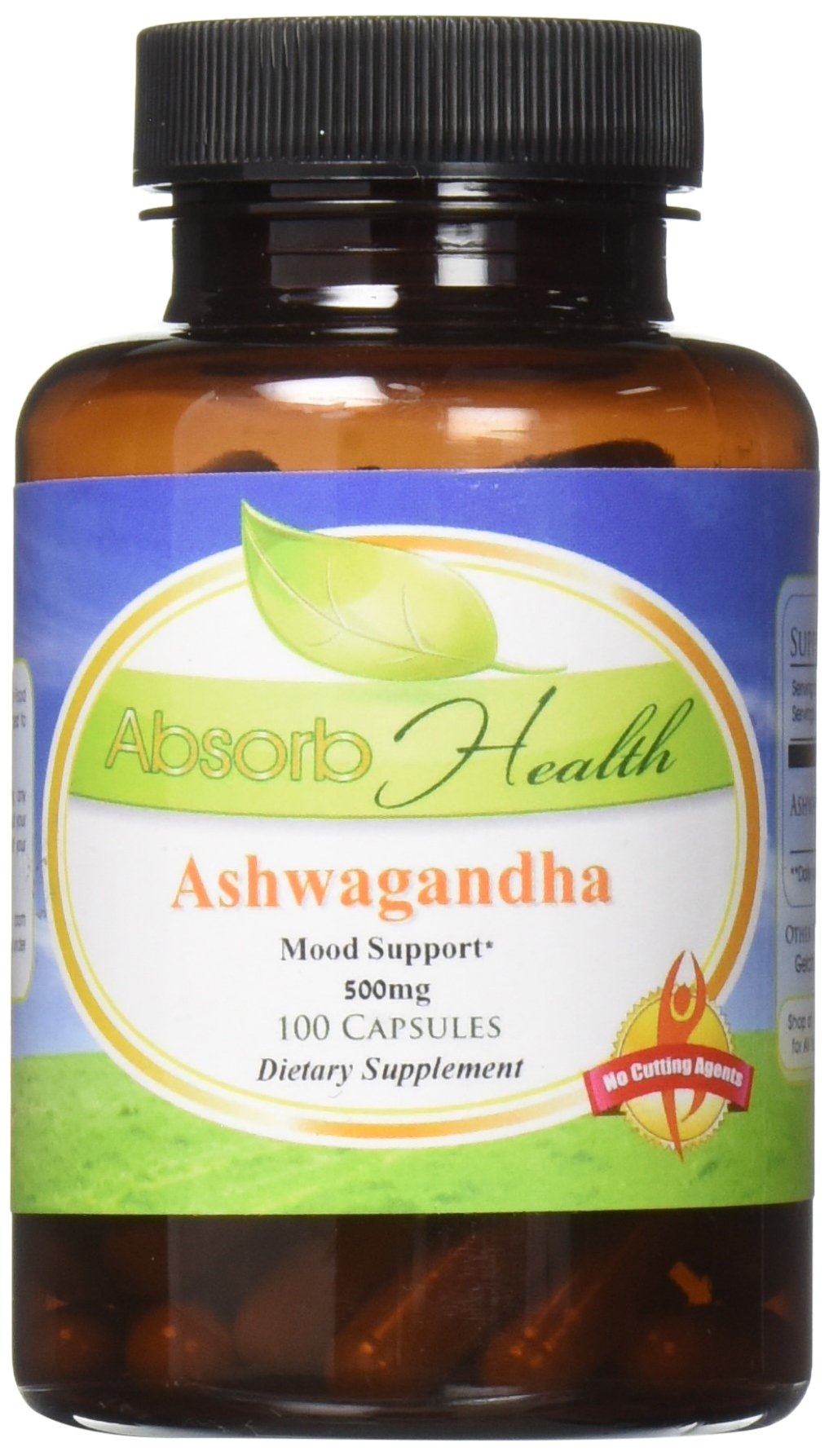 Absorb Health Ashwagandha 10:1 Extract 500 mg Capsules, 100 Count