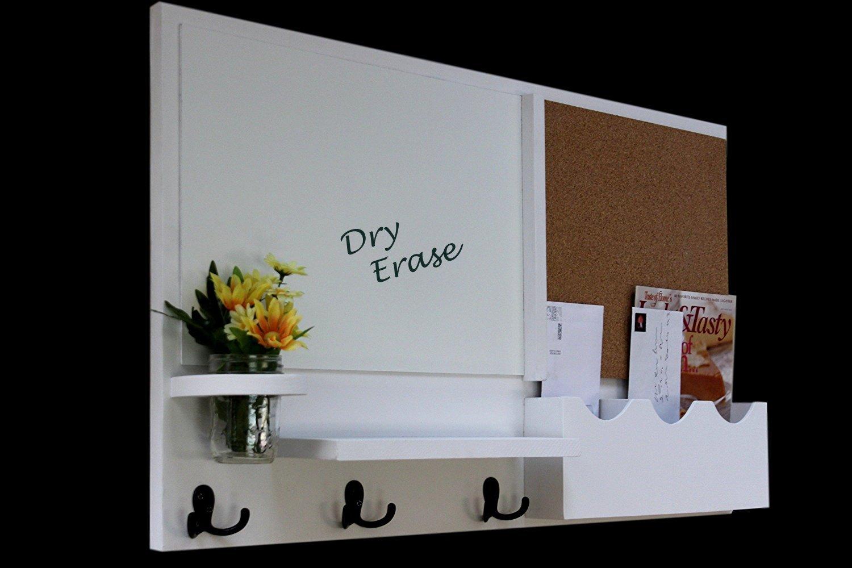Legacy Studio Décor Message Center with White Board Cork Board Mail Organizer Key Hooks Coat Hooks Mason Jar (Smooth, White)