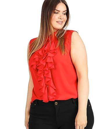 d4c48105193c1 Lovedrobe Women s Plus Size Red Frill Front Sleeveless Work Shirt ...
