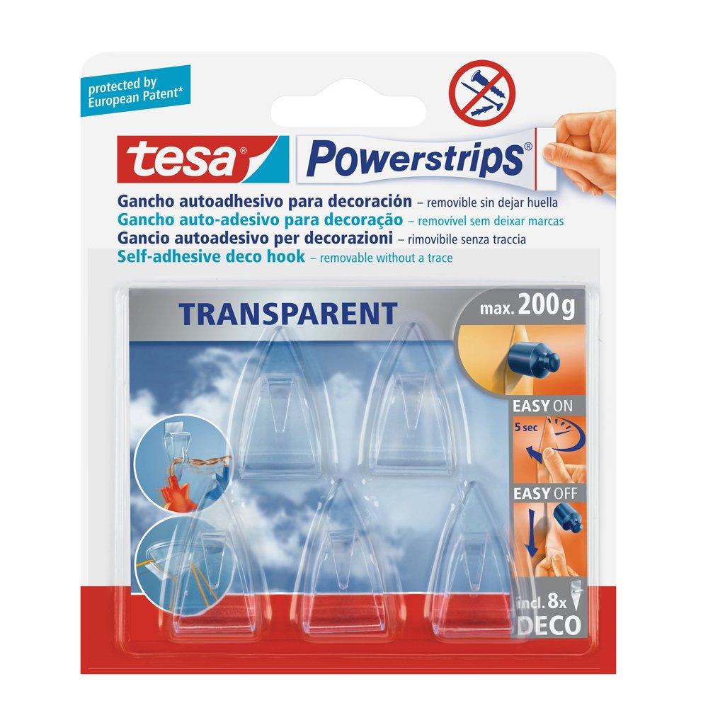 tesa Powerstrips Deco 5 Ganci Trasparenti + 8 Strisce Biadesive Rimovibili MAG_P7-N5K1-YGGI