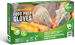 UNNI 100% Compostable Food Prep Gloves, Restaurant-Quality,For Food Handling, Powder-Free, 100 Count, Medium, Earth Friendly Highest ASTM D6400, US BPI and Europe OK Compost Certified, San Francisco