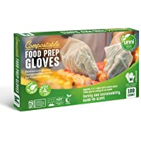 UNNI 100% Compostable Food Prep Gloves, Restaurant-Quality,For Food Handling, Powder-Free, 100 Count, Medium, Earth…