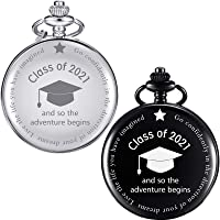 2 Pieces Pocket Watch So The Adventure Begins Class of 2021 Graduation Gift Supplies with Boxes