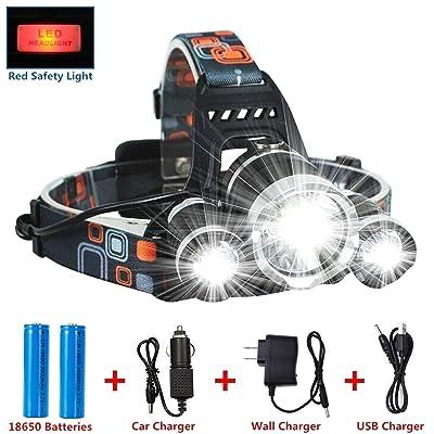 Meilleur et plus lumineux LED Lampe frontale 6000lumens LED Lampe frontale rechargeable lampe de poche, 3lampes 4modes Super Bright LED Lampe frontale tactique mains libres pour course à pied Camping