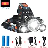 LED Headlamp Flashlight Kit, ANNAN 8000-Lumen Extreme Bright Headlight with Red Safety Light, 4 Modes, Waterproof, Portable Light for Camping, Biking, 2 Rechargeable 18650 Batteries Included