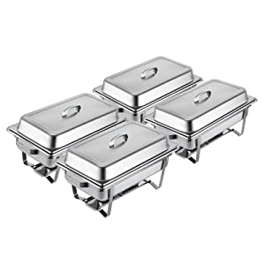 Mophorn Chafing Dish Buffet Stainless steel chafer, 8 Quart, Set of 4
