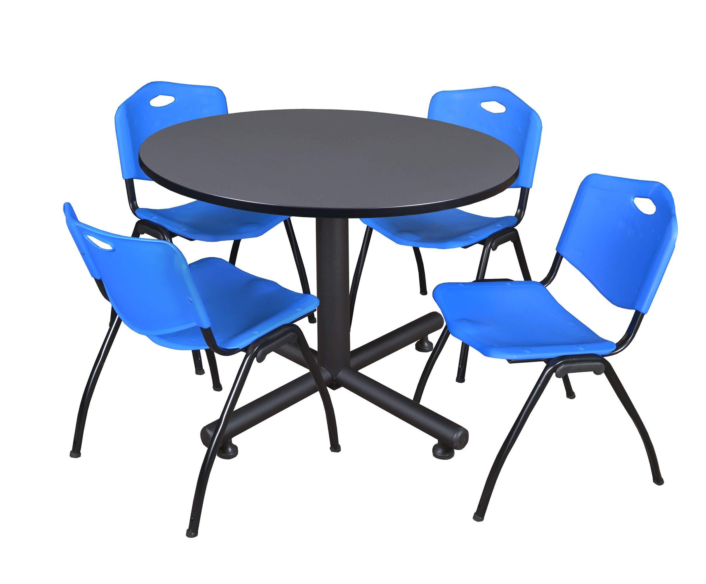 Regency Kobe 48-Inch Round Breakroom Table, Grey, and 4 M Stack Chairs, Blue by Regency Seating