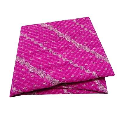 Vestido Sari Indio Vendimia Patrón Bordado Mezcla De Seda Drapeado Textil Velo Casa Decoración del Arte