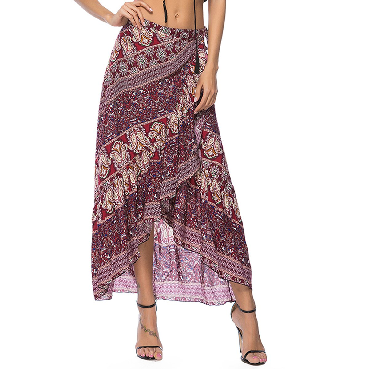 Sherry Skirt Women's Bohemian Floral Print Beach Wrap Skirt High Waist Long Maxi Skirt (Wine Red)