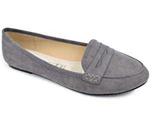 Greatonu Women's Comfort Grey Faux Suede Smoking Loafers Flat(8 Us)