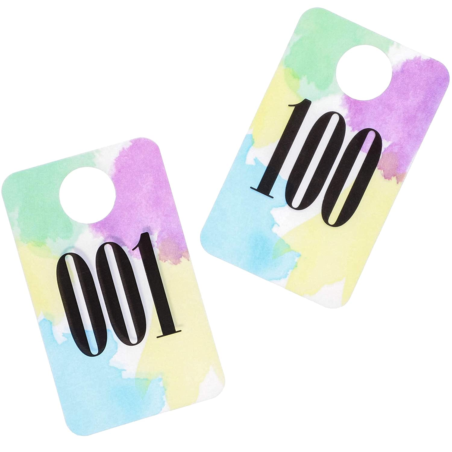 Juvale Set of 100 Live Sale Plastic Number Tags 2.5 x 1.5 Inches Numbers 001-100 Pastel Watercolor Design