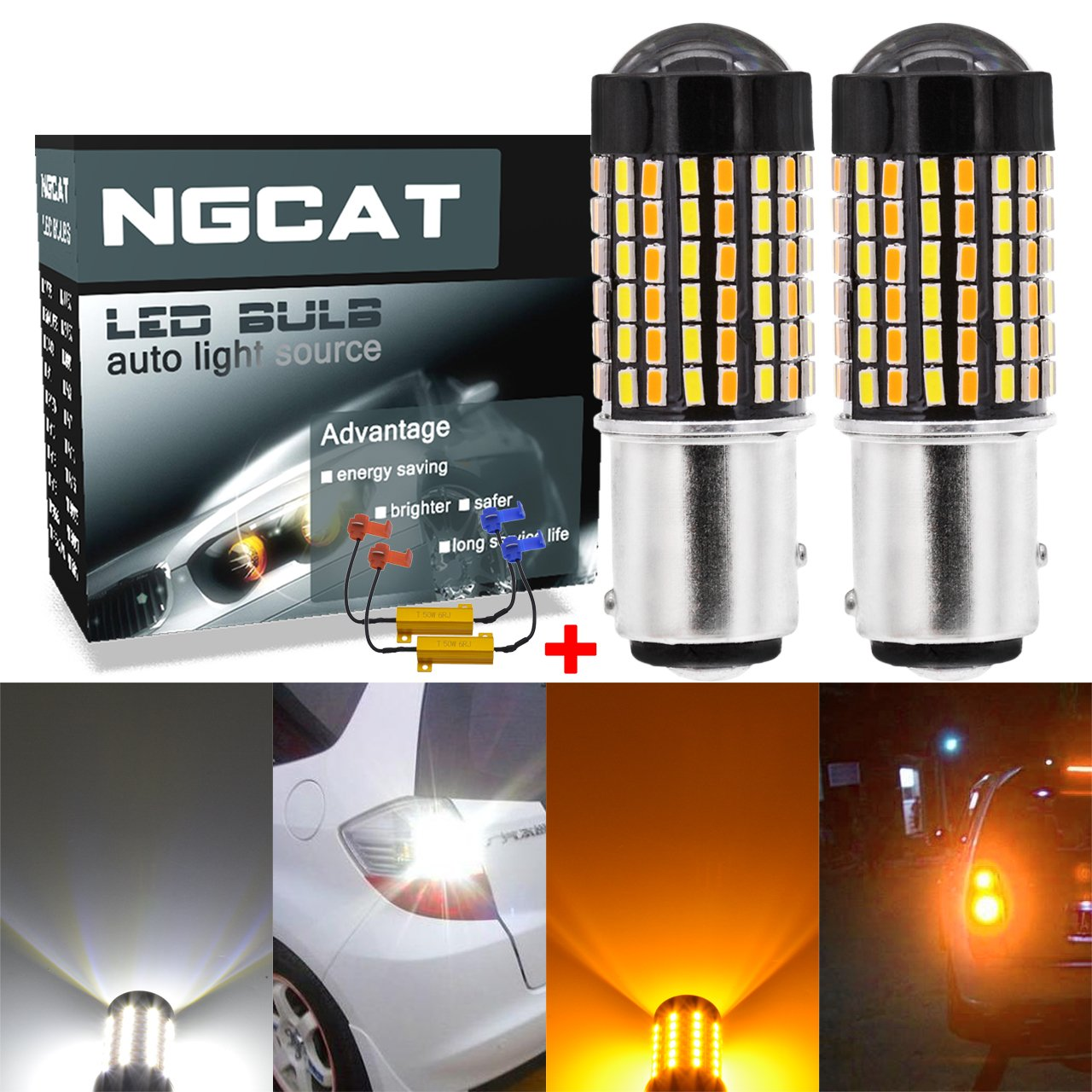 NGCAT 2PCS 6500K 1157 BAY15D 800 Lumens Dual Color White/Amber Canbus Error Free Switchback Turn Signal Light Led Bulbs 3014 120-SMD Lens LED Light Lamp with 50W 8ohm Load Resistors